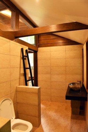 Kinabatangan District, Malezja: Modern bathroom with hot water Hans Grohe Rain and handshower