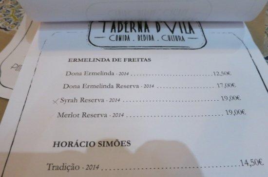Grândola, Portugal: Wine list