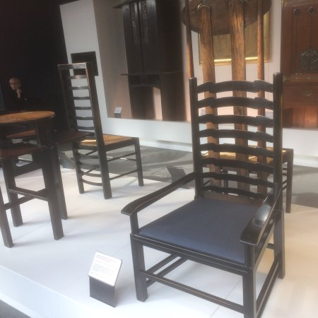 The Glasgow School of Art: Furniture saved from Mackintosh school of art located on the tour given by students in the visit