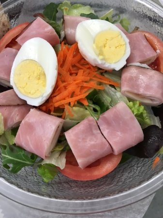 Milford, MA: Chef Salad: Ham, Turkey, Provolone Cheese, and Boiled Egg top the House Salad
