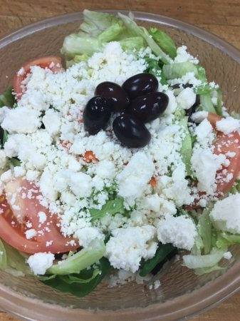 Milford, MA: Greek: Hand-crumbled Feta and Greek Olives top the House Salad