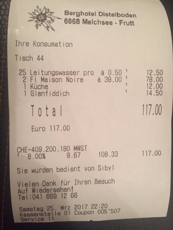 Melchsee-Frutt, Schweiz: Bill including charge for tap water of 12.50 CHF