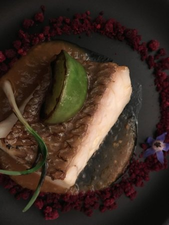 El Club Allard: Seabream with Beetroot Cruble and Mexican Husk Tomato Marinade.