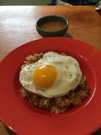 Wolfville, Canada: Stir fried rice with egg on top, miso soup