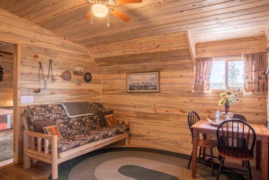 Monticello, UT: futon and dining area