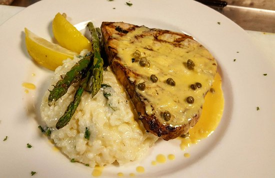 North Attleboro, MA: Grilled Swordfish, Risotto, lemon caper cream sauce