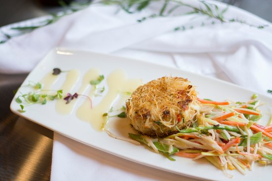 Canonsburg, PA: A guest favorite: Crabcake with katafi crust, spring vegetable salad, white French dressing