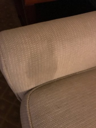 Signature at MGM Grand: Stained couch, like most things in the room were