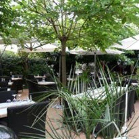 Saintes, France: Notre terrasse ombragée au milieu de la végétation et à l'écart de la rue.