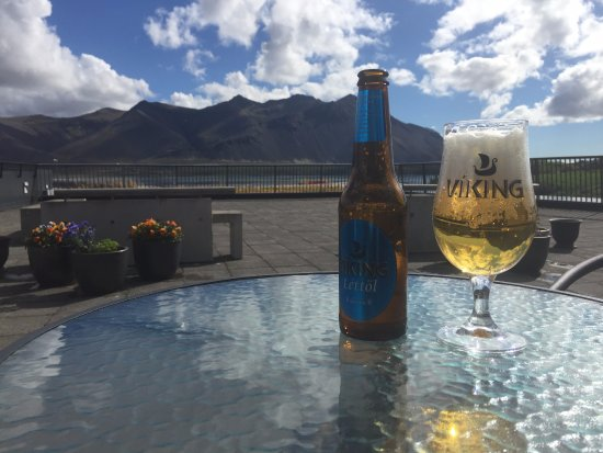Borgarnes, Iceland: Mountain view with a cold one