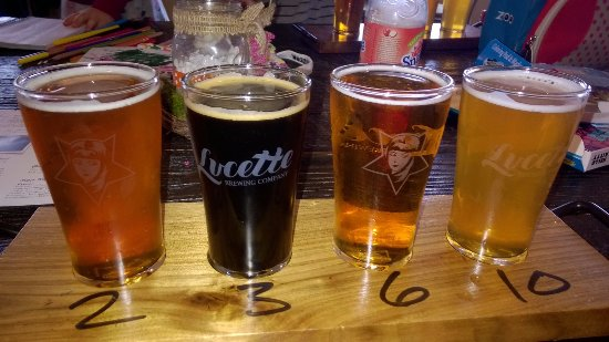 Menomonie, WI: Sampler of beers: Left to right (Ride Again, Slow Hand, Double Dawn)