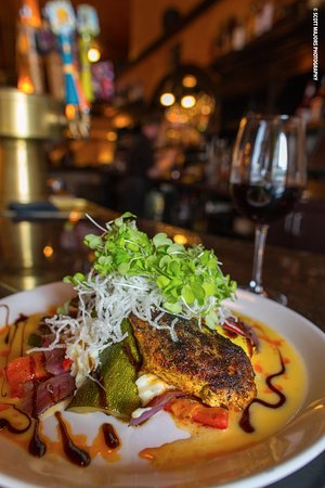 Springs Orleans: Blackened Chicken and a glass of Cabernet Sauvignon
