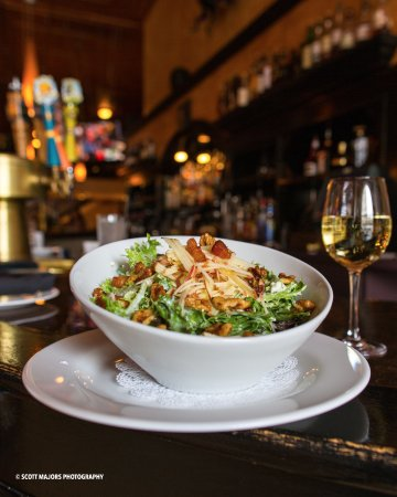 Springs Orleans: The Apple Matchstick Salad and a glass of Chardonnay