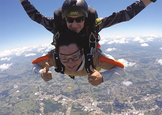 Greeneville, TN: The best way to experience skydiving for the first time is a tandem jump.