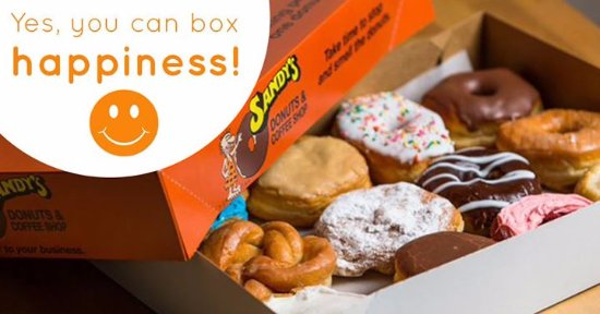 Sandy's Donuts & Coffee Shop: A box of Sandy's Donuts will always put a smile on someones face.