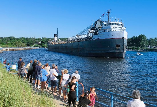 Manistee County, MI: Coming through! - Freighter in the Manistee Channel