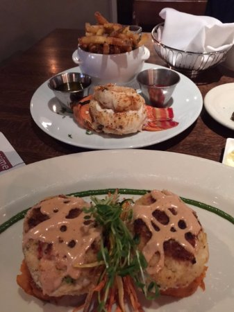 Warrington, PA: Jumbo crab cakes over sweet potato cakes, with shallot tomato sauce, lobster tail and french fri