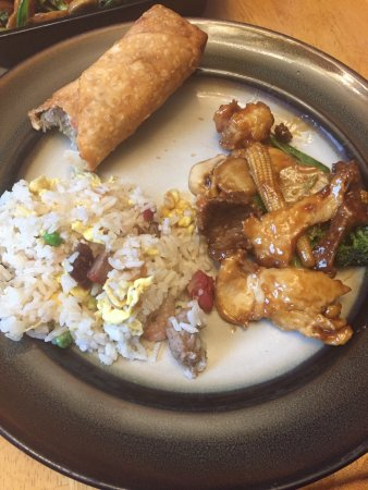 Haverhill, MA: a small portion on my plate of egg roll, loaded house rice & delight of 3.