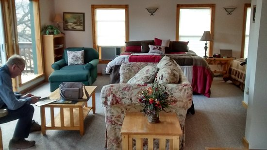 Lytle Creek Inn Bed and Breakfast: Lounge & part of bedroom opening onto upper decked area.
