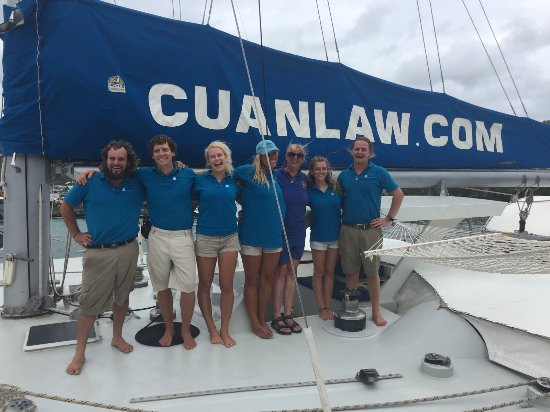 Road Town, Tortola: Our over the top Cuan Law Crew! Jaime's captain now!