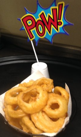 Cheboygan, MI: Our amazing hand battered onion rings will add POW to your sandwich or burger!!