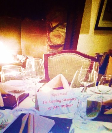 La Quinta, CA: Table reserved in memory of Arnold.
