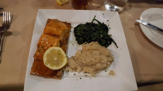 Monkton, MD: Cedar planked salmon with sauteed spinach