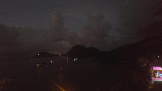 Terre-de-Haut, Guadeloupe: view from balcony at dusk