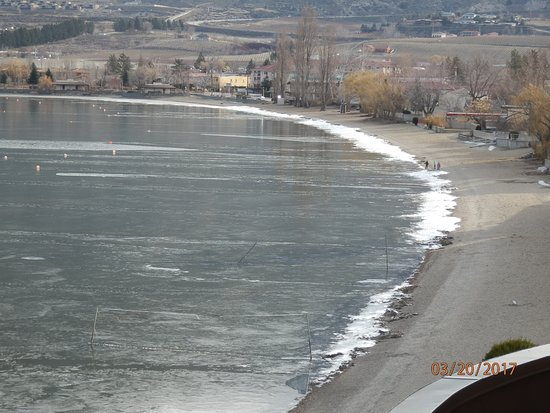Ice being pushed onto the shoreline of Osoyoos Lake.