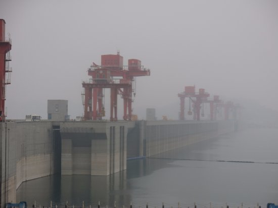 Yichang, China: Three Gorges Dam, view of the dam from the upstream side on a cloudy day.