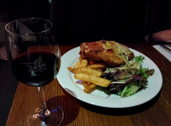 Sale, Australia: Cri Parmy with chips and salad