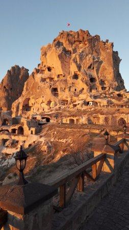 Uchisar, Turkiet: il castello al tramonto