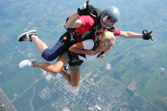 Baldwin, WI: Tandem skydive, right after exiting the plane.