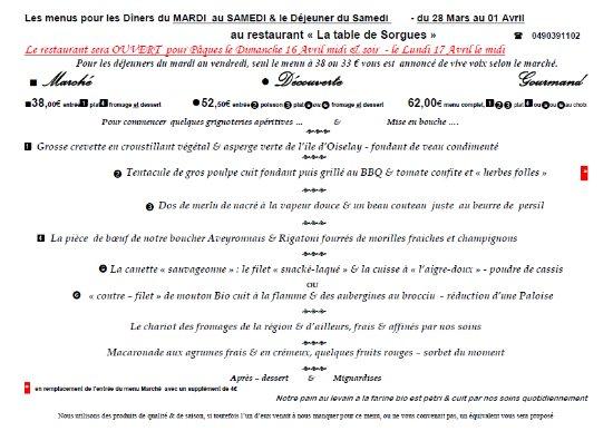 Les MENUS de cette SEMAINE du 28 Mars au 01 Avril au restaurant La Table de Sorgues