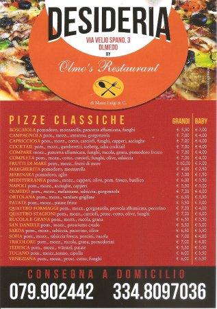 Olmedo, Ιταλία: Menù pizzeria