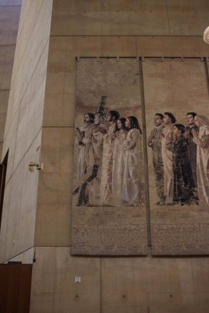 Cathedral of Our Lady of the Angels : Mural dos Santos