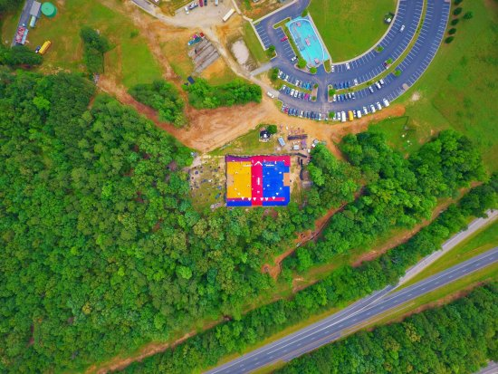 Chesterfield, VA: Drone picture of some of the XZone Sports fields, skate park, and parking lot.