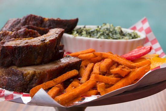 West Orange, NJ: Smoked Baby Back Ribs with Sweet Fries and Creamed Spinach