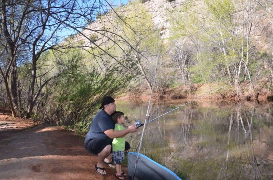 Lo Lo Mai Springs: Fishing by the creek