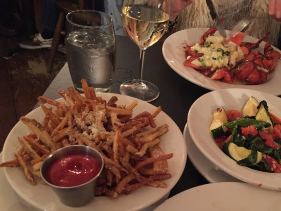 Bistro at Ten Acres : Parmesan truffle fries, lobster and sauteed veg..delicious!