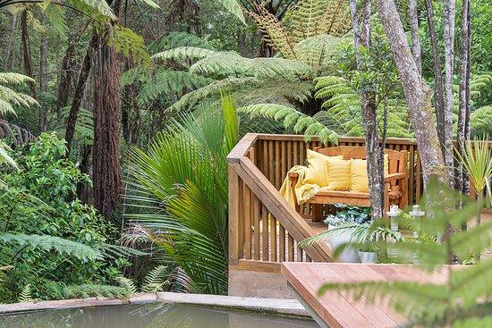 Albany, Nuova Zelanda: Seat by the waterfall