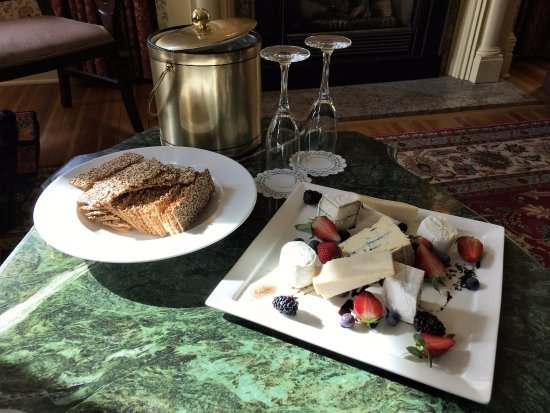 The Inn at Erlowest Restaurant: Chef's seasonal cheese plate for two and Prosecco
