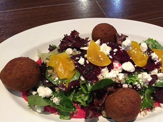 Modern Mixture: Beet Hummus Falafel Salad