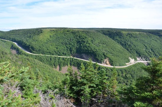 Cabot Trail: view from above down on the road
