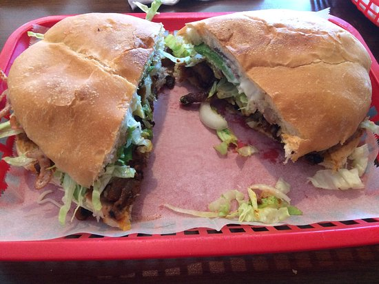 Watertown, WI: Torta al pastor - a huge sandwich!