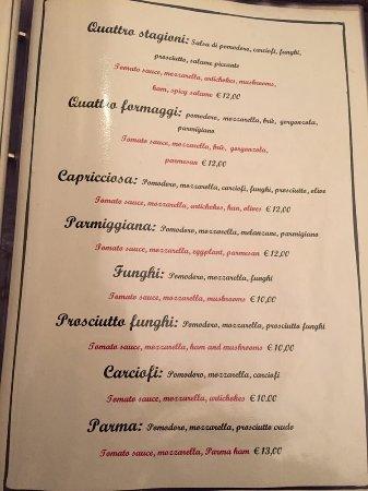 Al Casin dei Nobili: Pizza menu