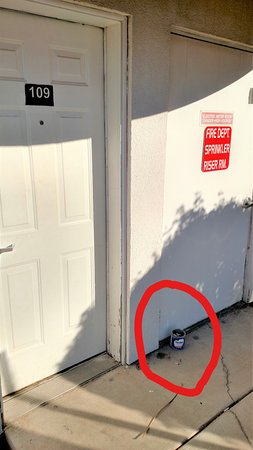 Motel 6 Apache Junction: Bucket of cigarette butts outside door of our room