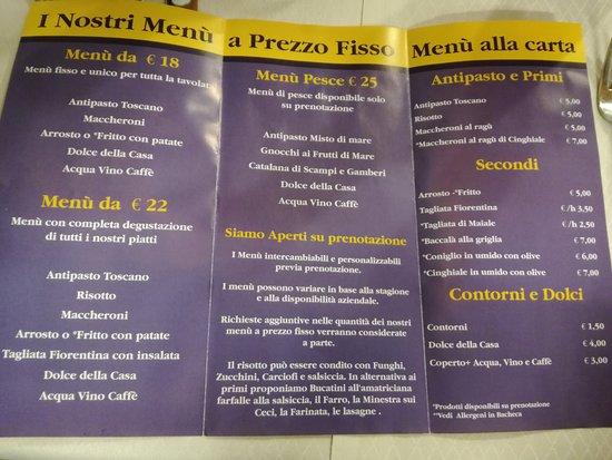 Massa e Cozzile, Italy: il menù