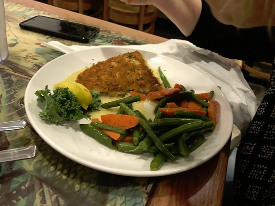 Palm City, Floride : panko haddock with carrots and green beans