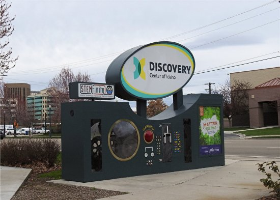 Discovery Center of Idaho: The sign on the street